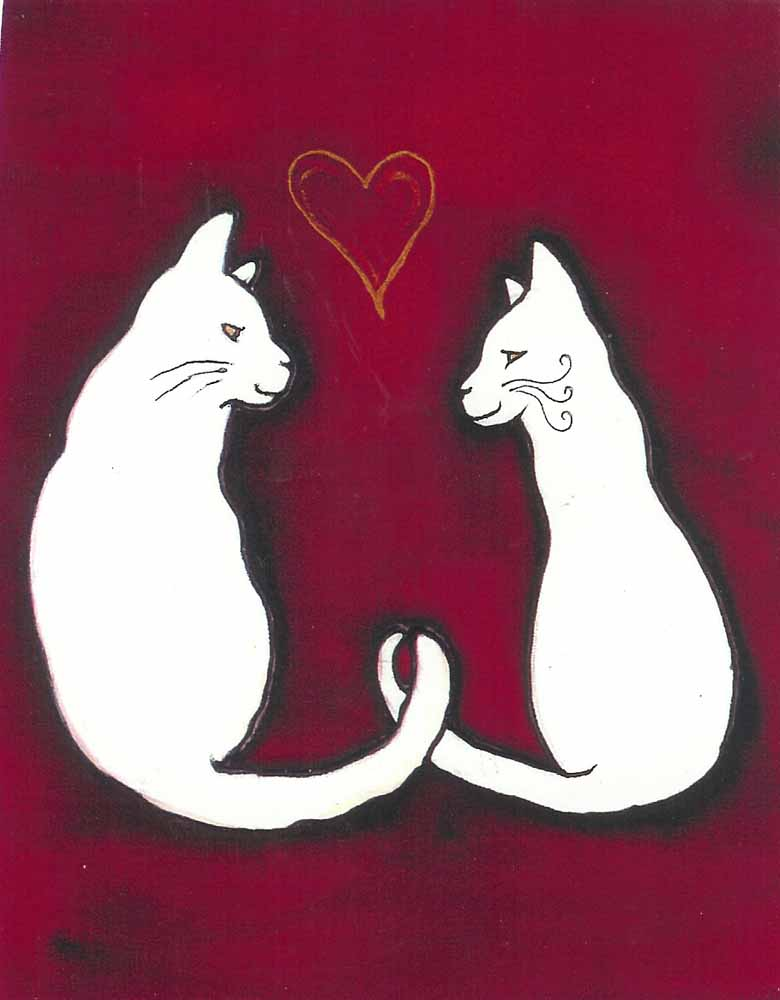 Valentine Cats by Kathy Crabbe