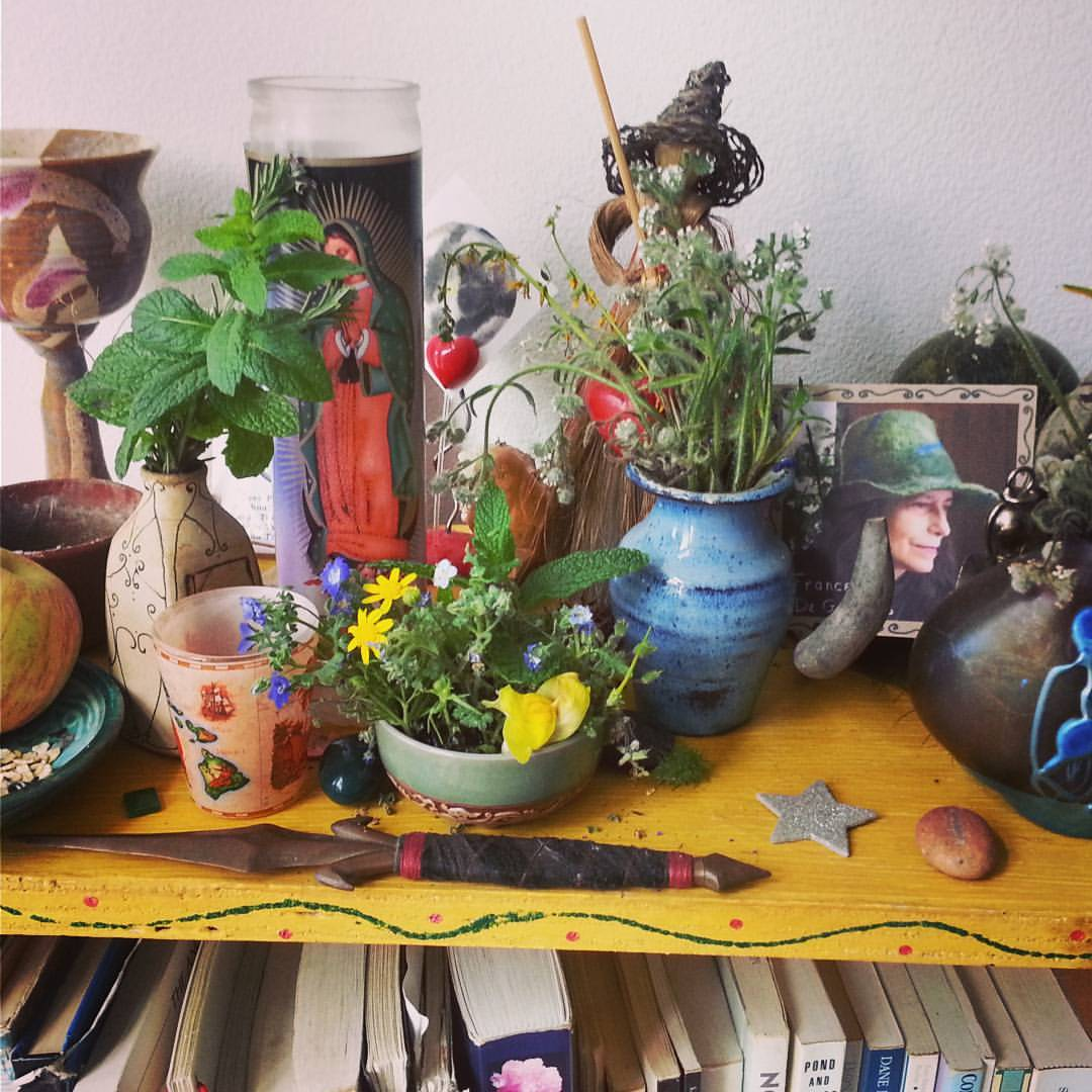 My Spring altar with a pic of my shamanic mentor Francesca De Grandis