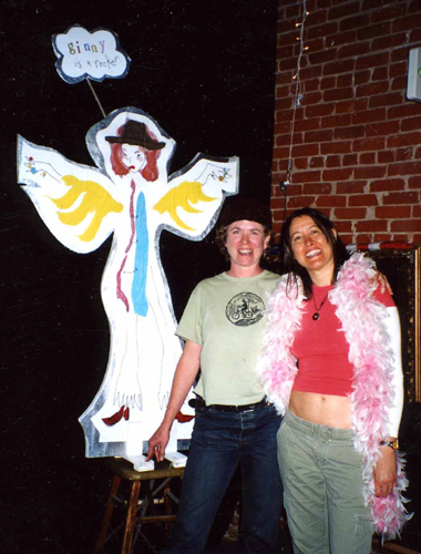 "Me, Michelle Shocked and Lefty ""Ginny"" onstage in Hollywood for International Women's Day"