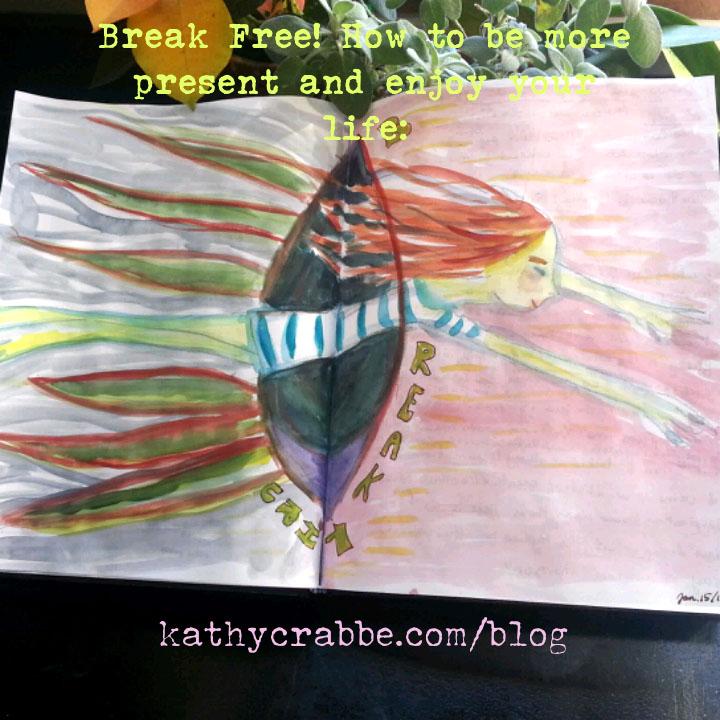 Break Thru by Kathy Crabbe. Space Twins Story, Gouache in sketchbook, 2017.
