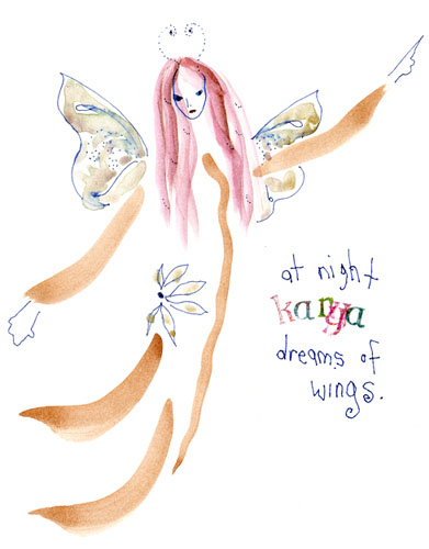 At night Karya dreams of wings by Kathy Crabbe