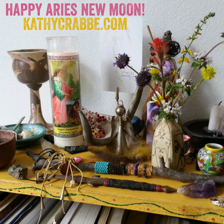 Kathy's New Moon in Aries Altar, Spring 2017