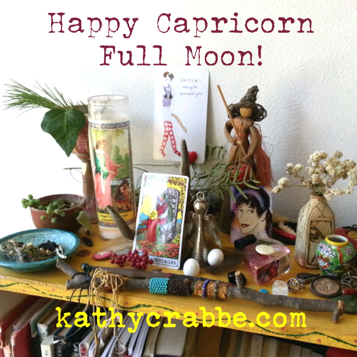 Capricorn Full Moon Altar by Kathy Crabbe