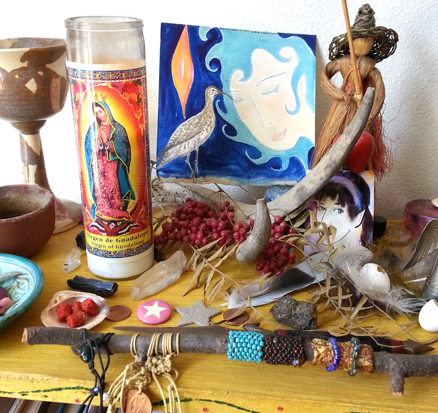 My Aries Full Moon Altar with Spirit Animal  Sandpiper  watching over.