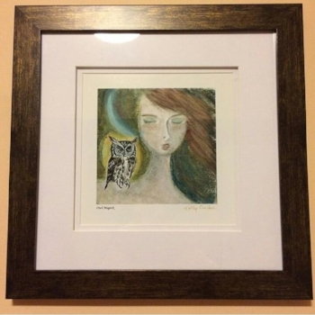 Suzy's Owl Magick painting framed