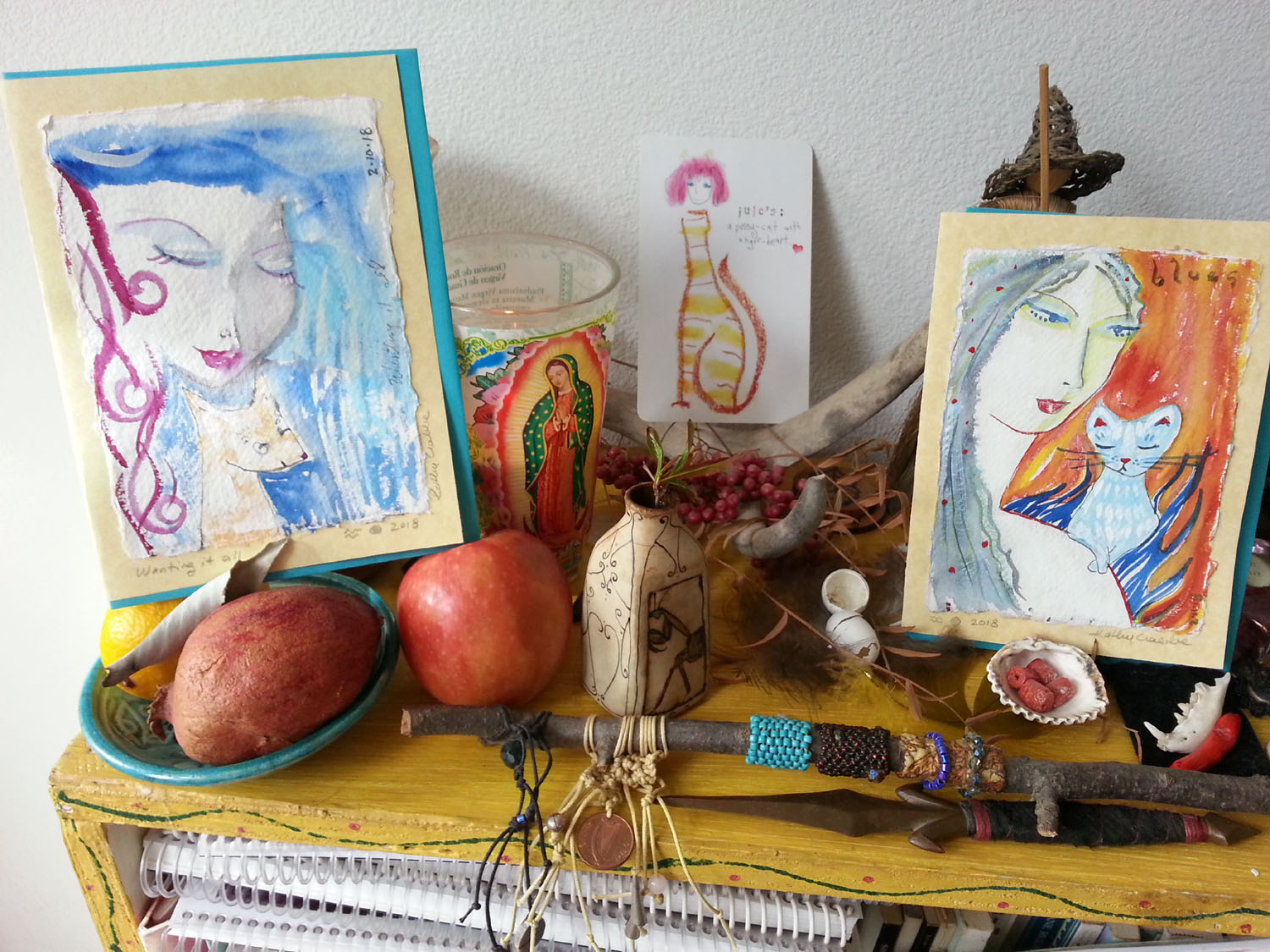 New Moon in Aquarius Altar with Goddess Art Cards & Lefty Oracle card-of-the-month