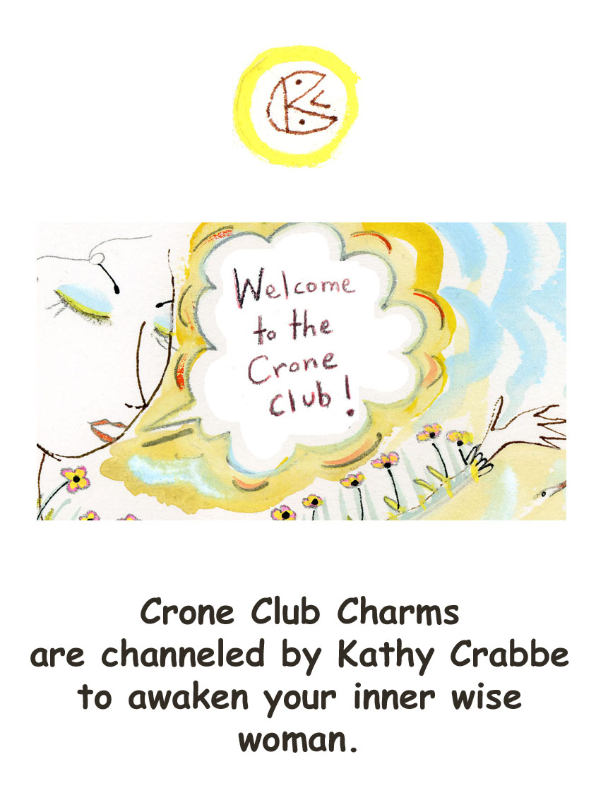 Back of Crone Club Notecard by Kathy Crabbe