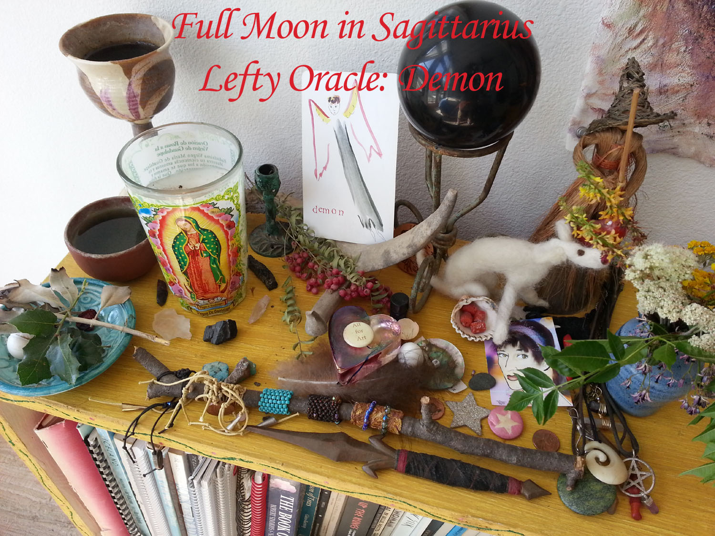 Sagittarius Full Moon altar by Kathy Crabbe