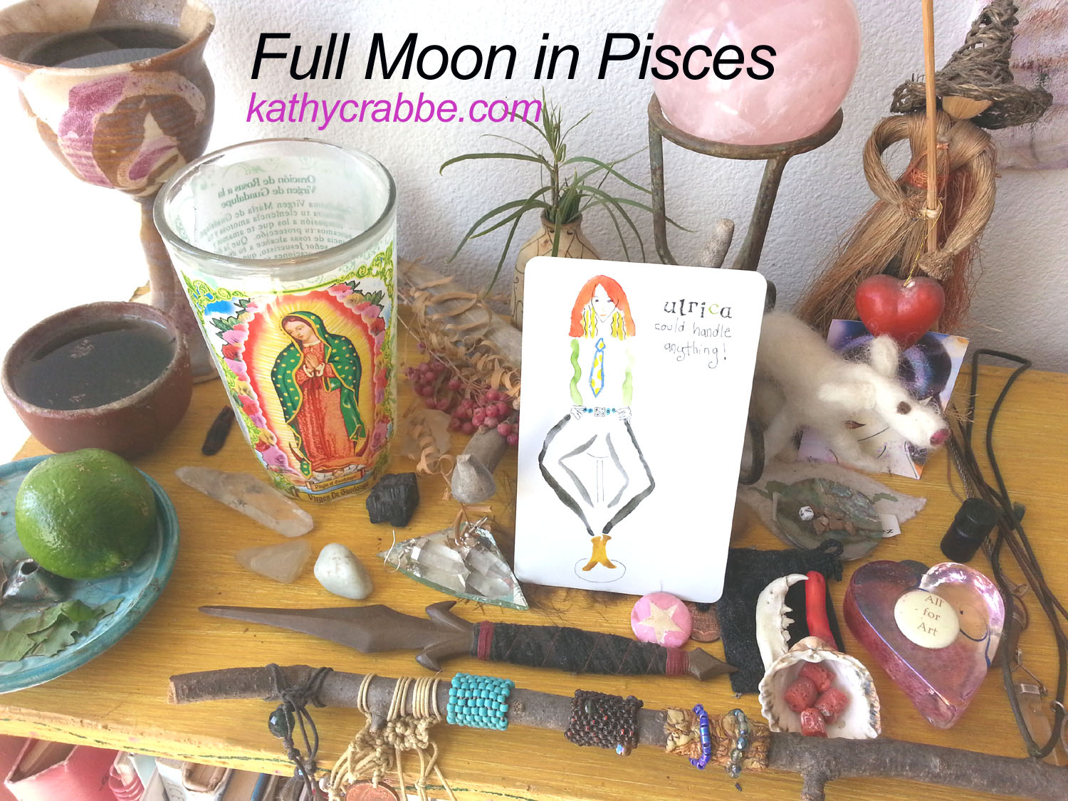 Pisces Full Moon altar by Kathy Crabbe