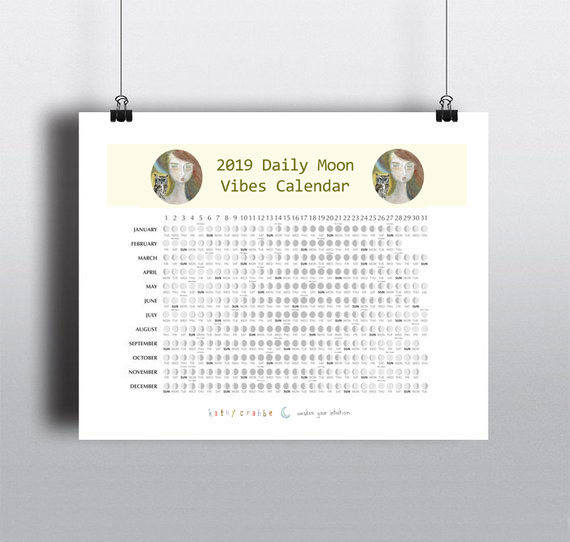Daily Moon Vibes Calendar by Kathy Crabbe
