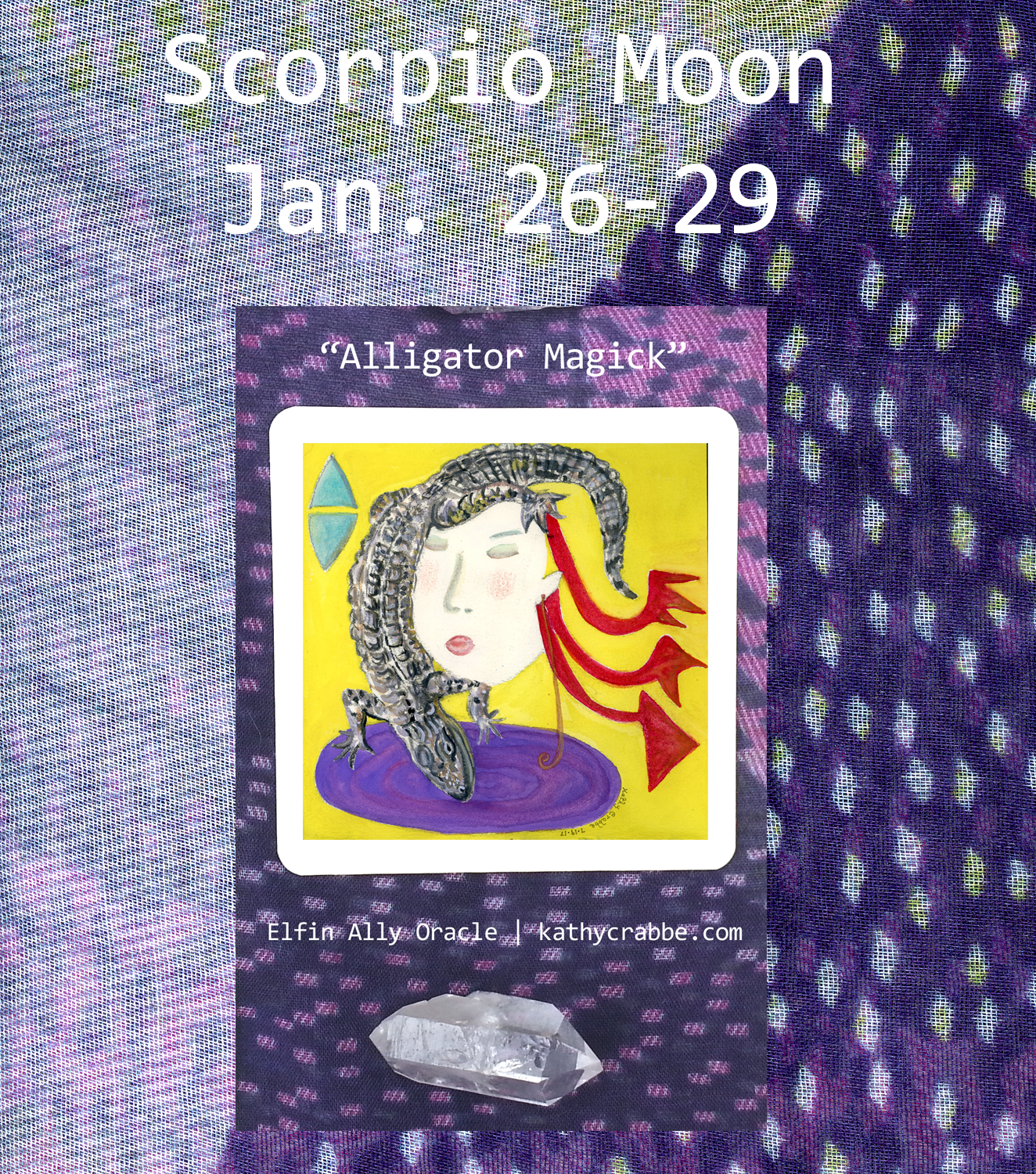 Alligator - Scorpio Moon Elfin Ally Oracle by Kathy Crabbe