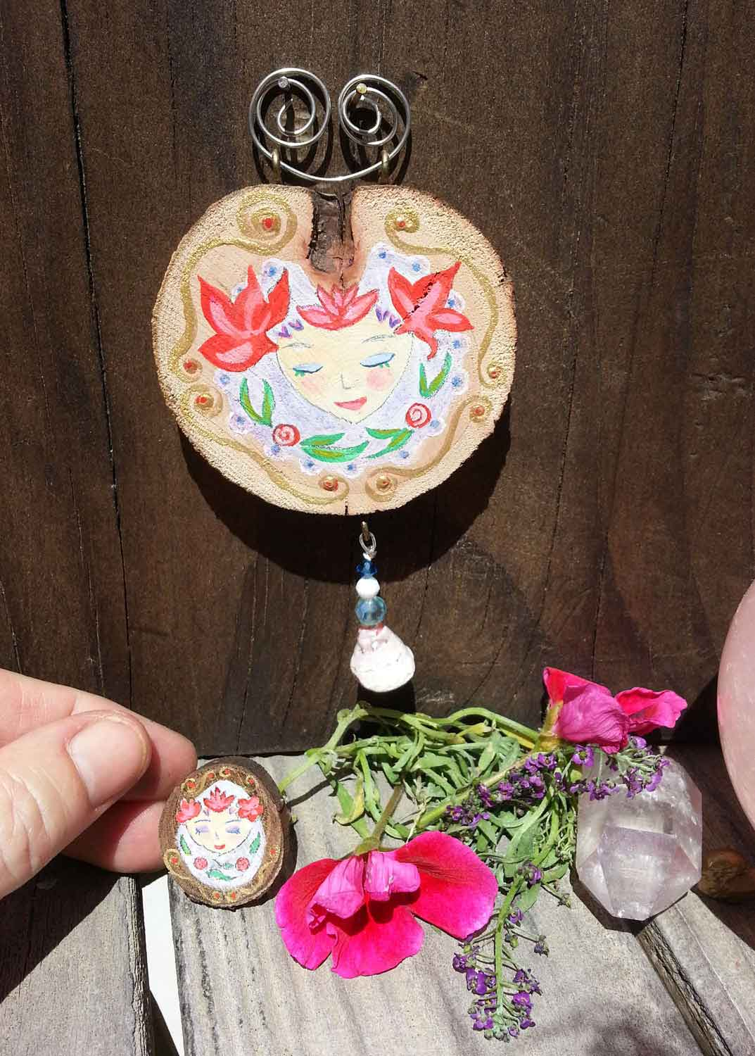 Goddess Vivian Altar Art & Ring, handpainted oak and sugarbush. You can find them  HERE.