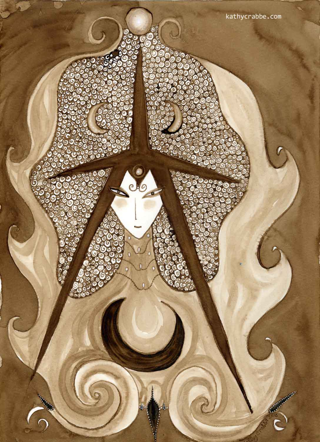 Fey Magick by Kathy Crabbe, watercolor on paper.