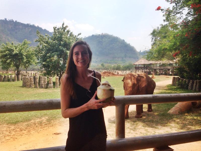 Enjoying a coconut at the main lodge
