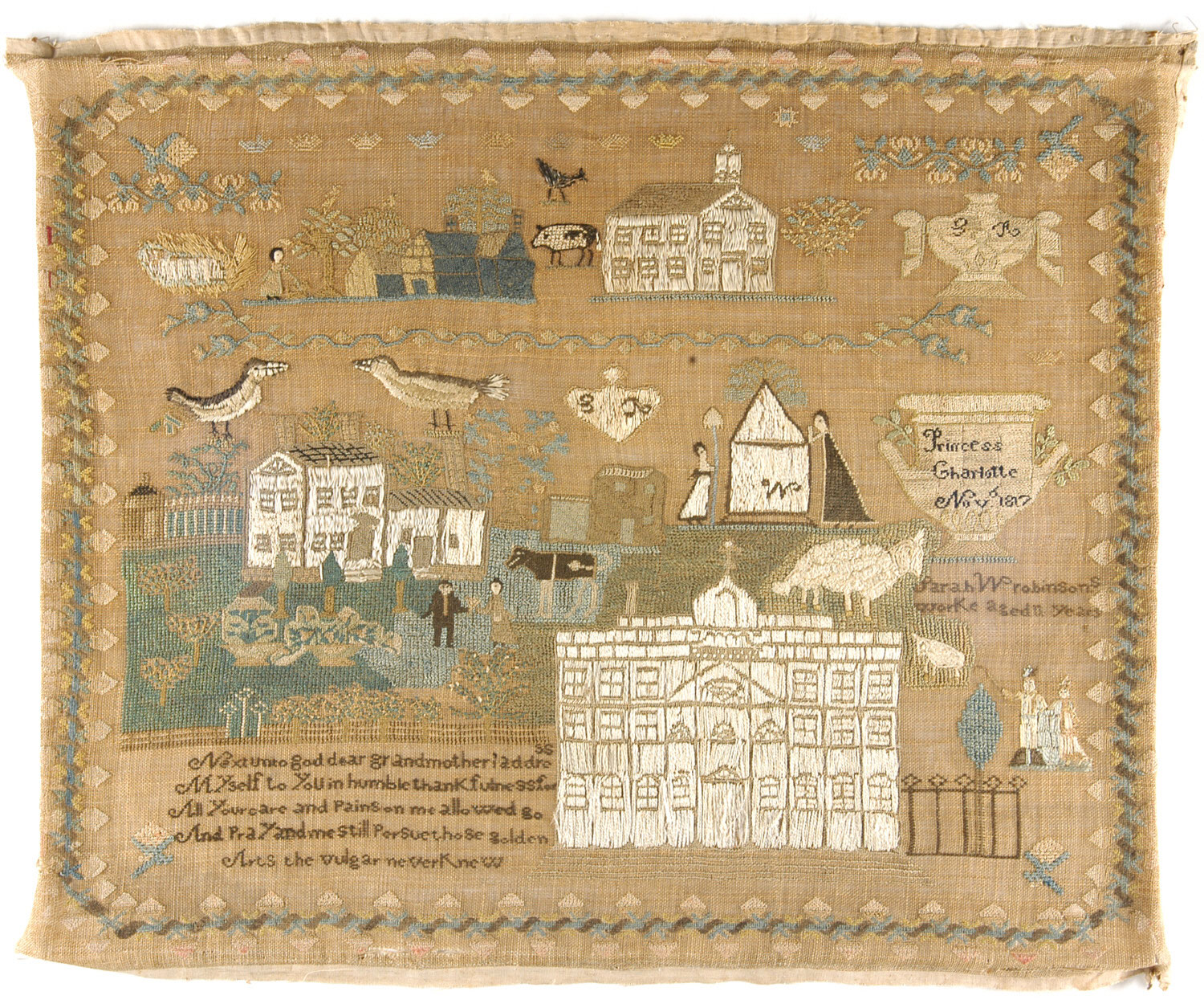 "Sarah W. Robinson sampler  (1817, England) at the Philadelphia Museum of Art. There is so much here--a large farmhouse, multiple people, and a lot of animals. I love the pig at the top! I also just noticed the urn inscribed ""Princess Charlotte Nov 1817,"" in remembrance of the young and beloved princess who died in childbirth, leading to the elevation of Queen Victoria."