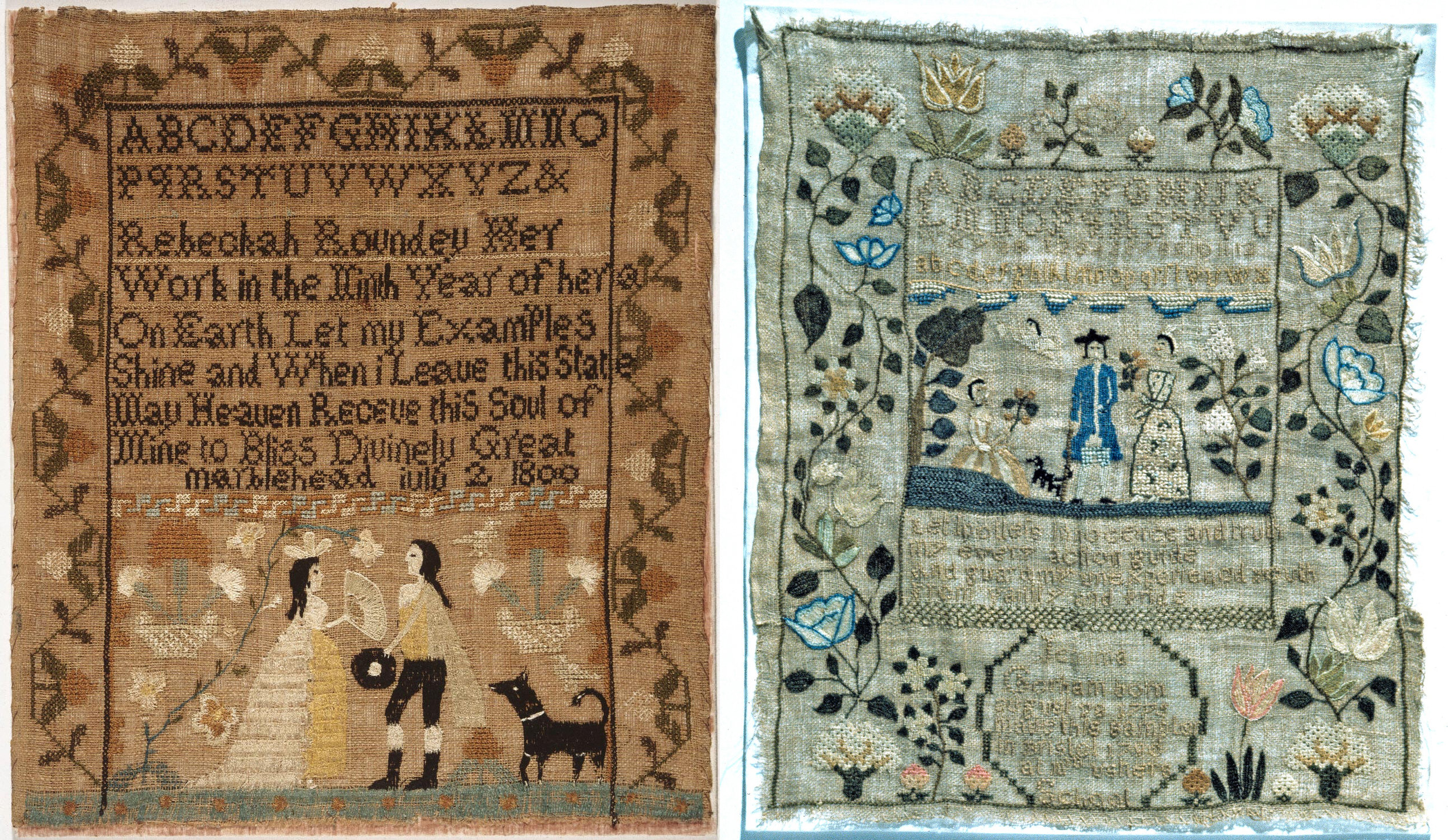 Left:    Rebeckah Roundey sampler  (1800, Marblehead, Massachusetts) at the Philadelphia Museum of Art. I love the couple, their wardrobe, and the striking black dog.   Right:    J  emima Gorham sampler  (1790, Bristol, Rhode Island) at the National Museum of American History. Another small black dog! I love the blues and pinks, and the vines of flowers.