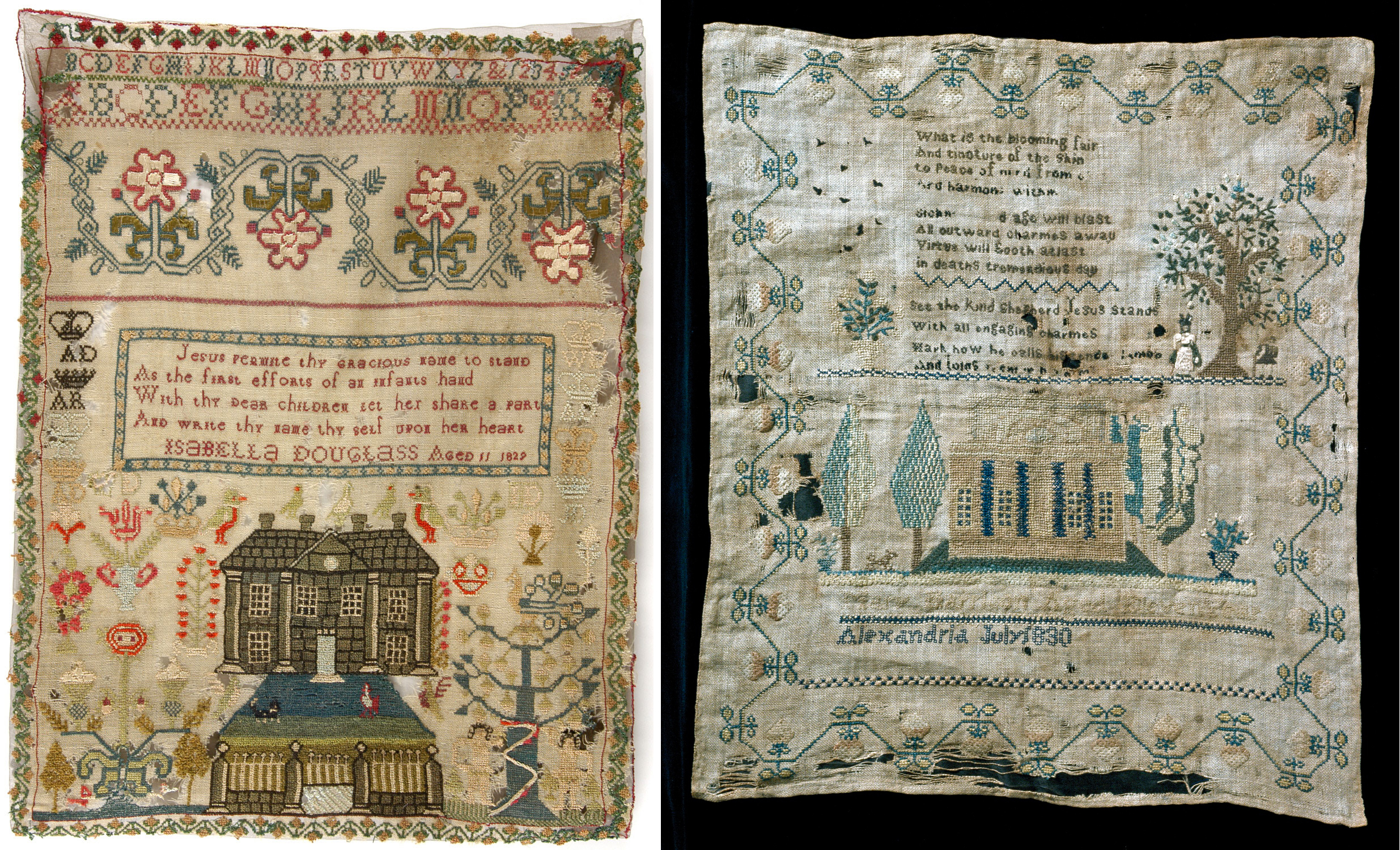Left:    Isabella Douglas sampler  (1829, Midlothian, Scotland) at the Philadelphia Museum of Art. This sampler has a beautiful house and gardens   and   an Adam and Eve! I love the four crowns surrounding the verse.   Right:    Mary Harrison sampler  (1830, Alexandria, Virginia) at the National Museum of American History. These were stitched around the same time on two completely different continents, and they're so similar! I like to think, however, that Mary Harrison's looks distinctly American.