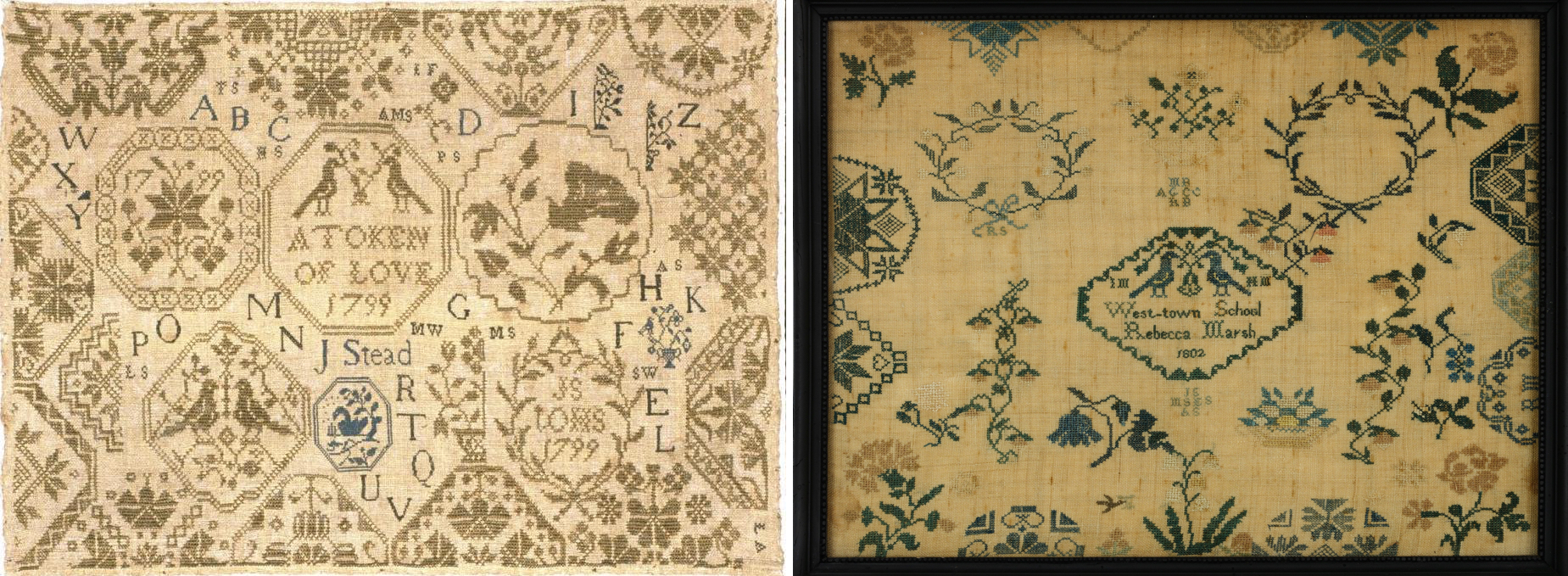 Left:    Jane Stead sampler  (1799, Yorkshire England) at the Colonial Williamsburg Online Collections. I'm so inspired by the medallions.   Right:    Rebecca Marsh sampler  (1802, Chester County, Pennsylvania) at the MET. Another two samplers from different countries, and two differently Quaker schools, that have so much in common.