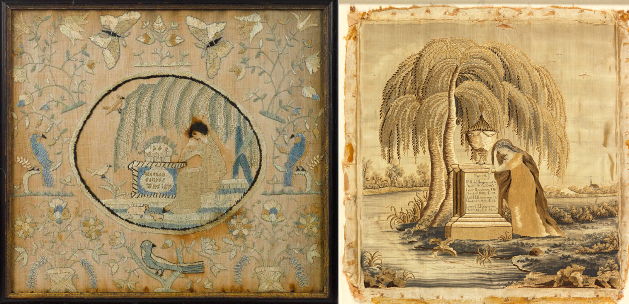 Left:   Silk on linen mourning needlework, ca. 1819, wrought by Hannah Farless, 15'' x 16 1/2''. Provenance: Rentschler collection   Right:   Mourning Sampler (England), ca. 1810; silk embroidery on silk foundation; H x W: 41 x 16 1/8 x 15 9/16 in.); Gift of Anonymous Donor from the Fraser/Martin Collection