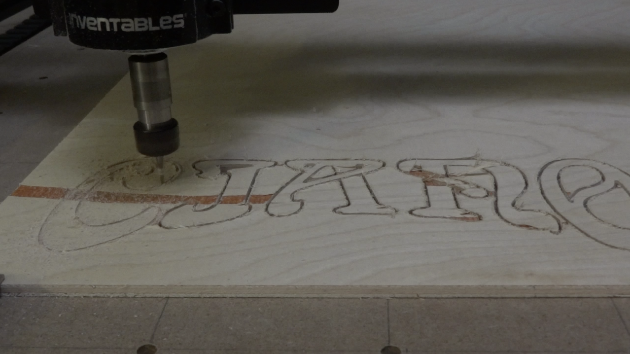 Letters cut out on the X-Carve