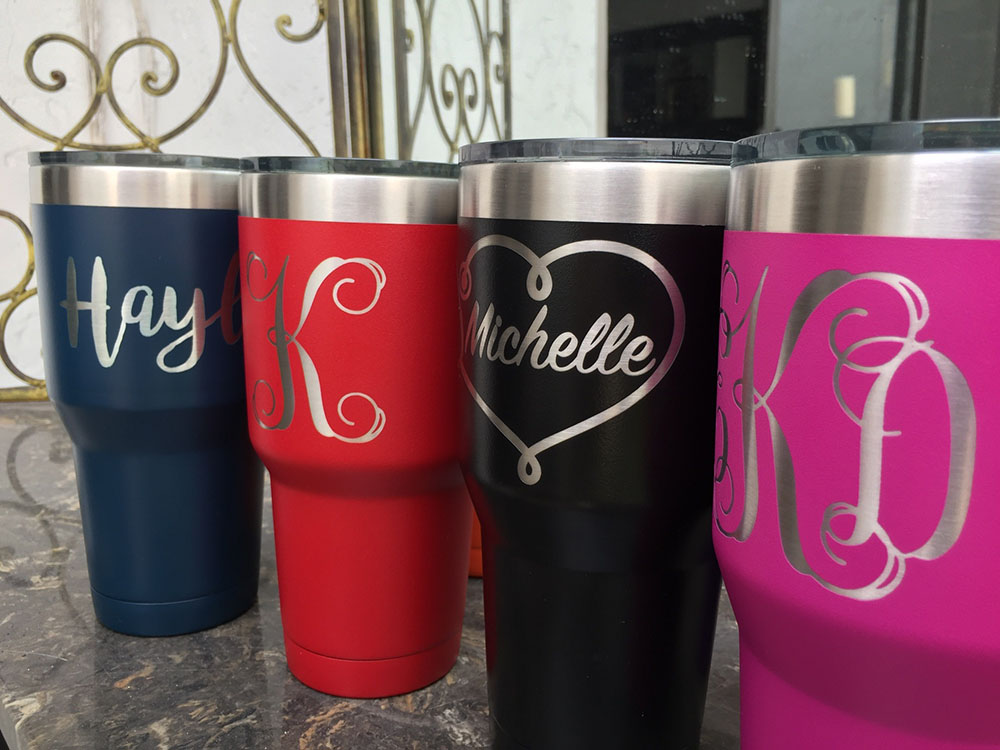 Engraved powder coated stainless steel