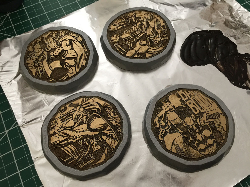 Laser Engraved, Hand Painted, Wooden Coasters