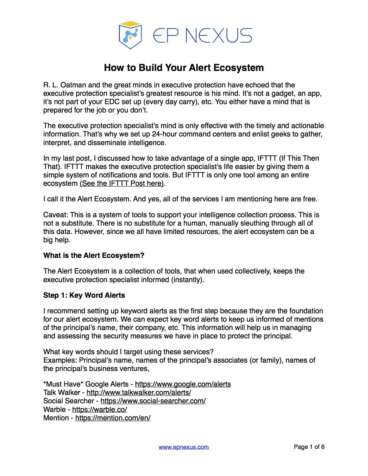 PG 1 - Executive Protection Alert Ecosystem