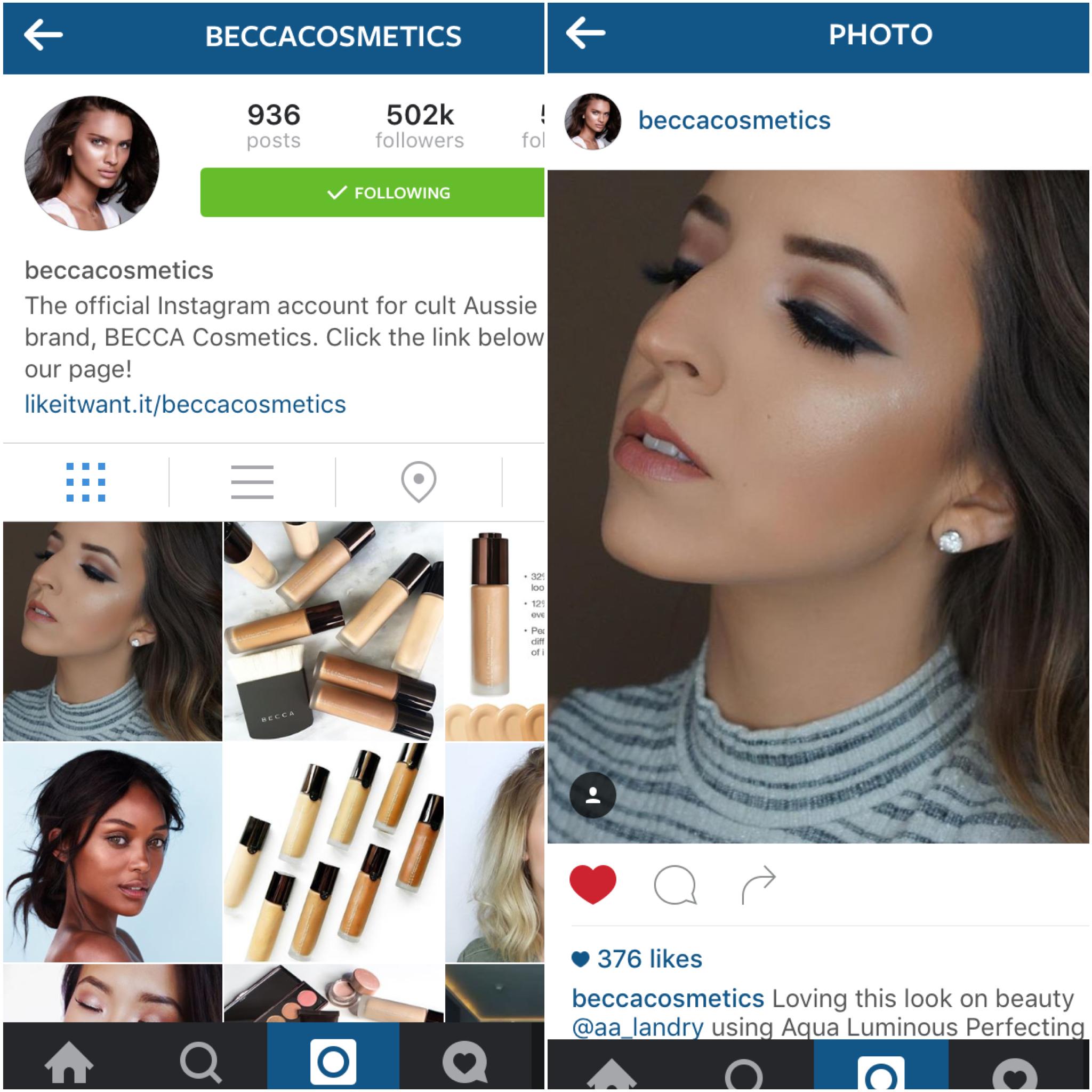 BECCA Cosmetics Instagram Feature