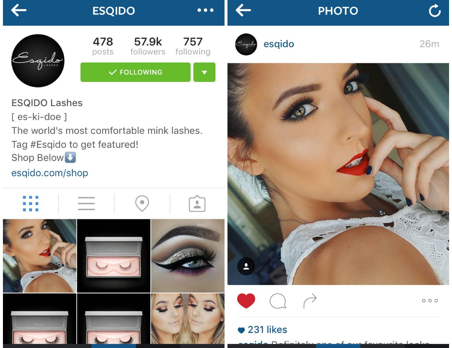 Esqido Lashes Instagram Feature