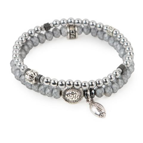"Ready to Rumble  (Set of Two)   Silver hematite and matte crystal glass bracelet set of two with silver accents and mini football charm. Measures approximately 7.5"" in length. With the purchase of this bracelet set, 25% of gross profit goes to Gift for Life.  All bracelet sets come with a pouch and a hang-tag detailing the mission of each charity."