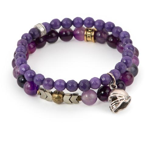 "Victory  (Set of Two)  Purple agate and dyed jade bracelet set of two with hematite detail and silver helmet charm. Measures approximately 7.5"" in length. With the purchase of this bracelet set, 25% of gross profit goes to STOMP Out Bullying.    All bracelet sets come with a hang-tag detailing the mission of each charity."
