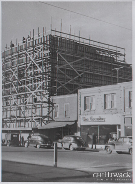 Front view of the Paramount Theatre under construction on Yale Road East