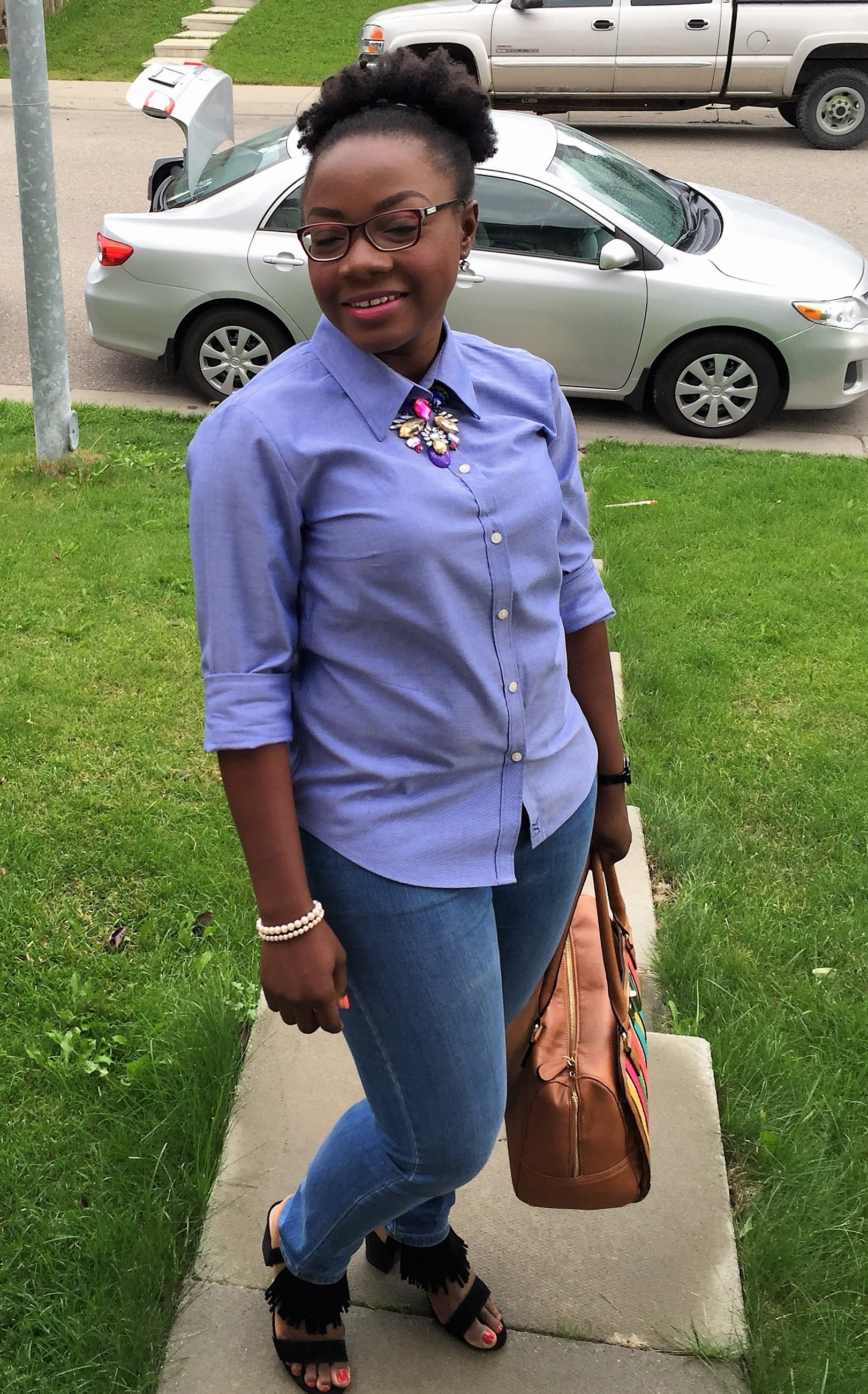 classic button down shirt on denim, how to stay classy with trends