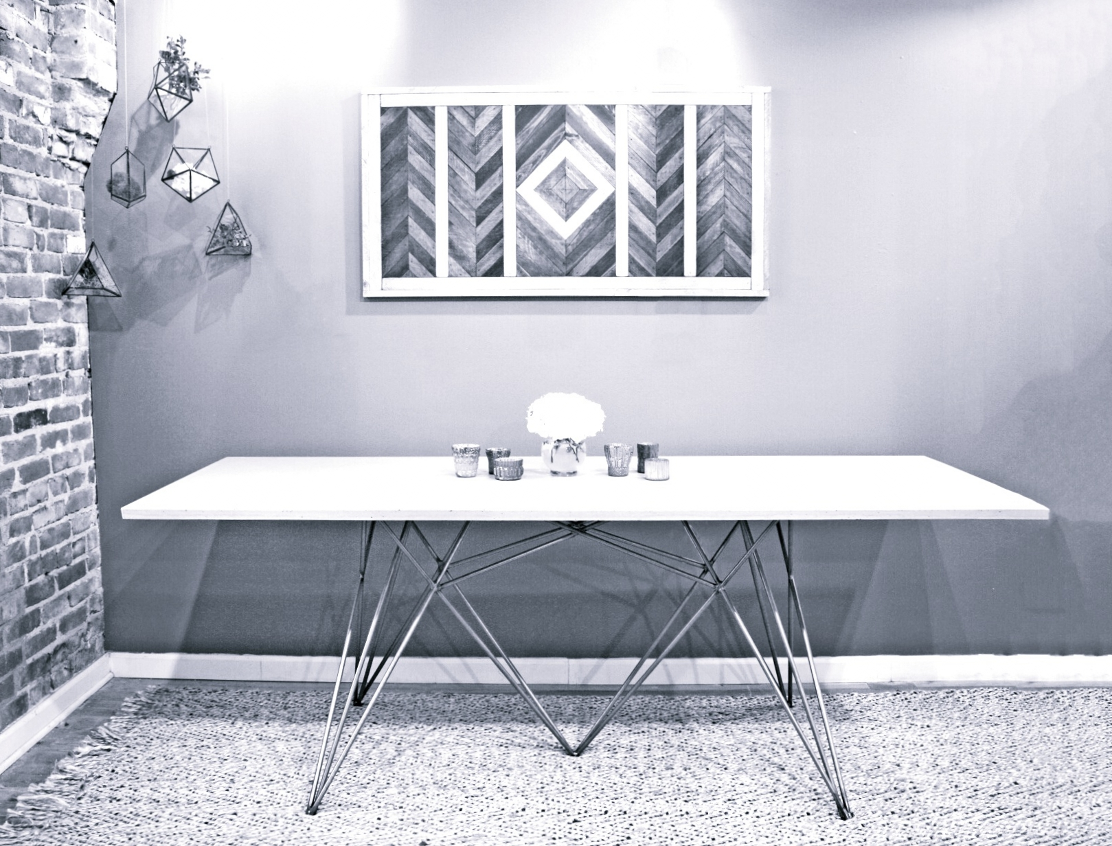 "52""x36"" modern concrete kitchen table 1/2"" navajo white concrete top. Base designed 1/8"" aluminum. Light and elegant."