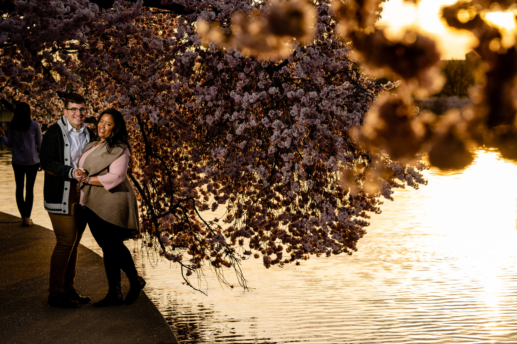Liz Joe DC Cherry Blossom Engagement Tidal Basin Jefferson Memorial Washington Monument Engaged6.jpg