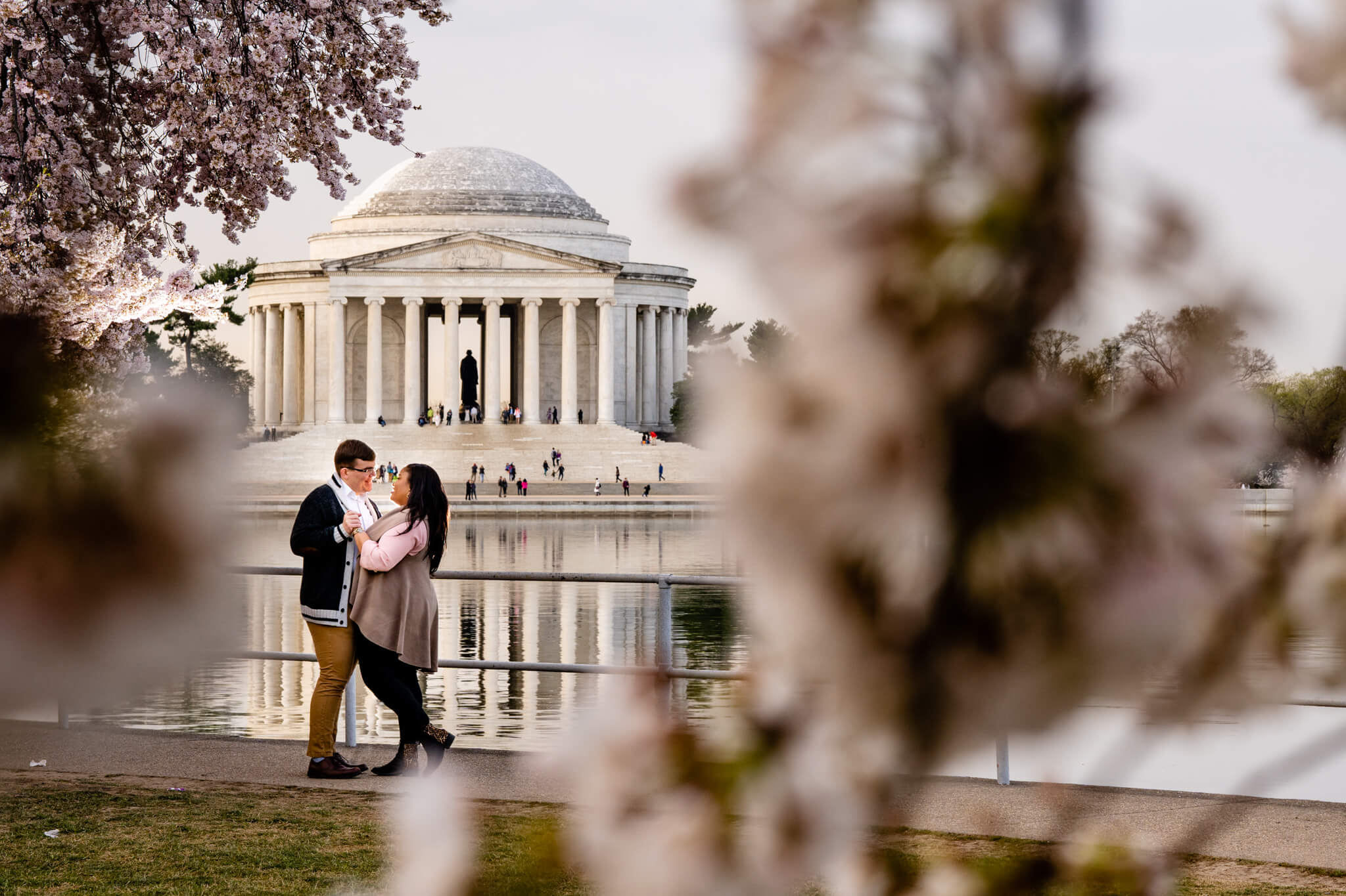 Liz Joe DC Cherry Blossom Engagement Tidal Basin Jefferson Memorial Washington Monument Engaged12.jpg