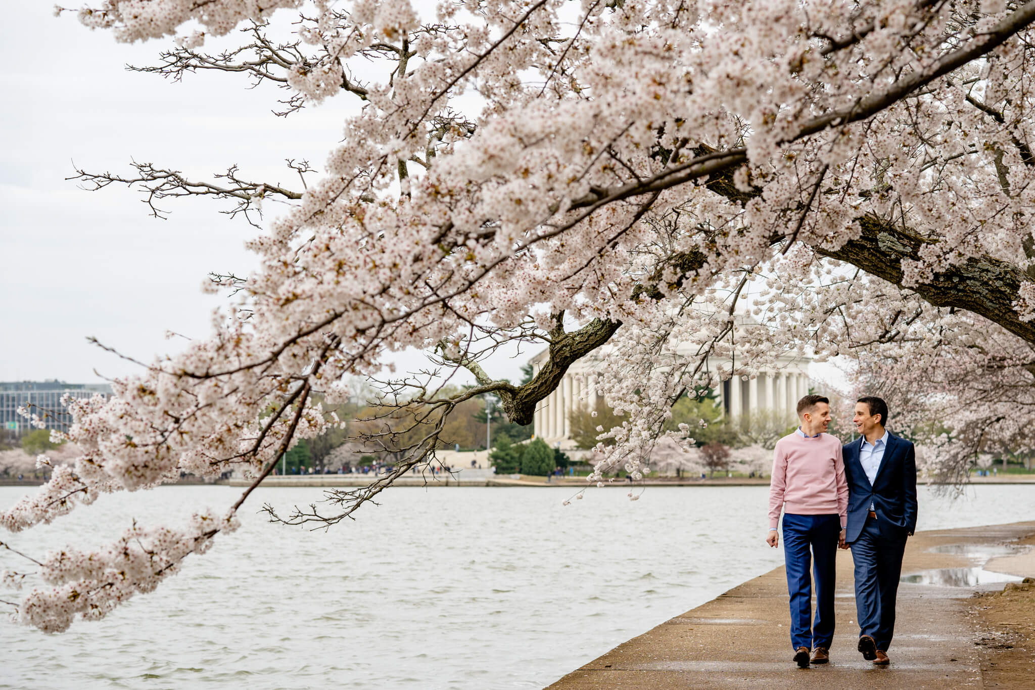 Andrew Josh Cherry Blossom Engagement Tidal Basin Jefferson Memorial Washington Monument Engaged National Gallery of Art Engagement-7.jpg