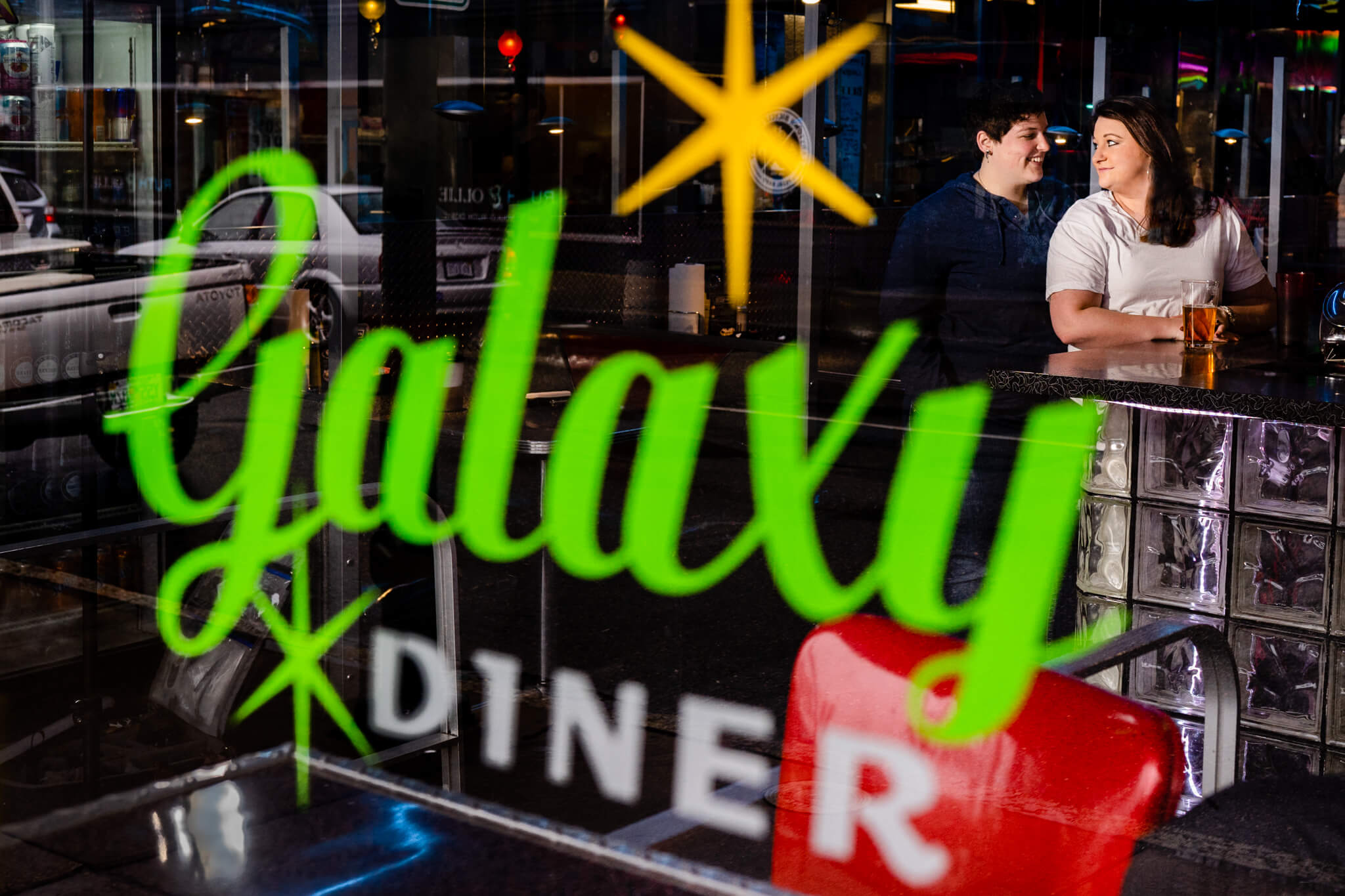 Richmond Engaged RVA Galaxy Diner Engagement Session Winter Session Snow Shoot Diner Photo Shoot-4.jpg