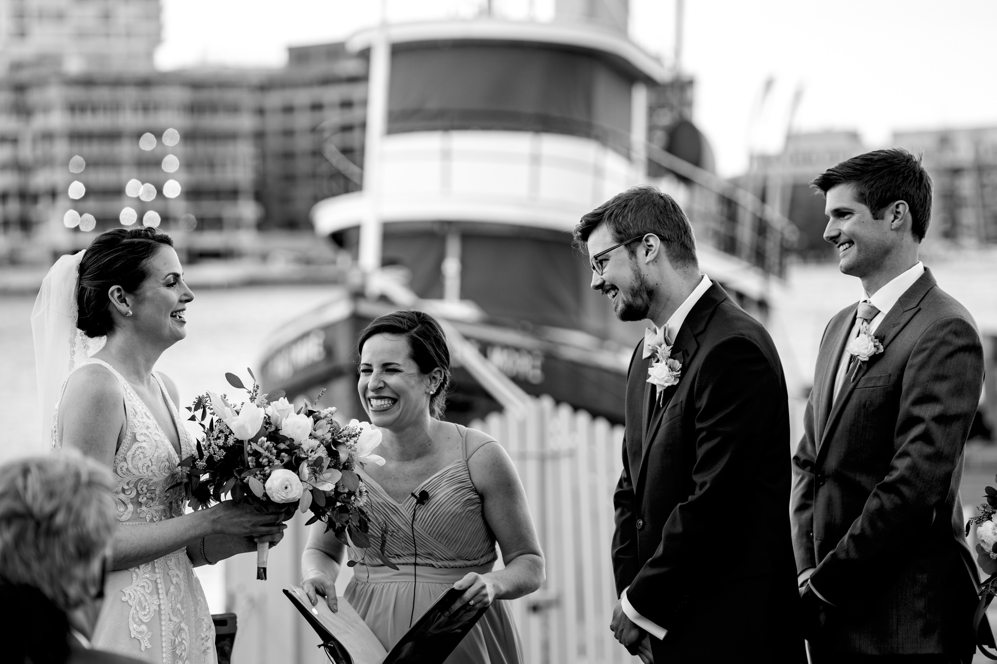 Baltimore Museum of Industry Spring Wedding Domino Sugar Sign Inner Harbor Photography by Bee Two Sweet-9.jpg