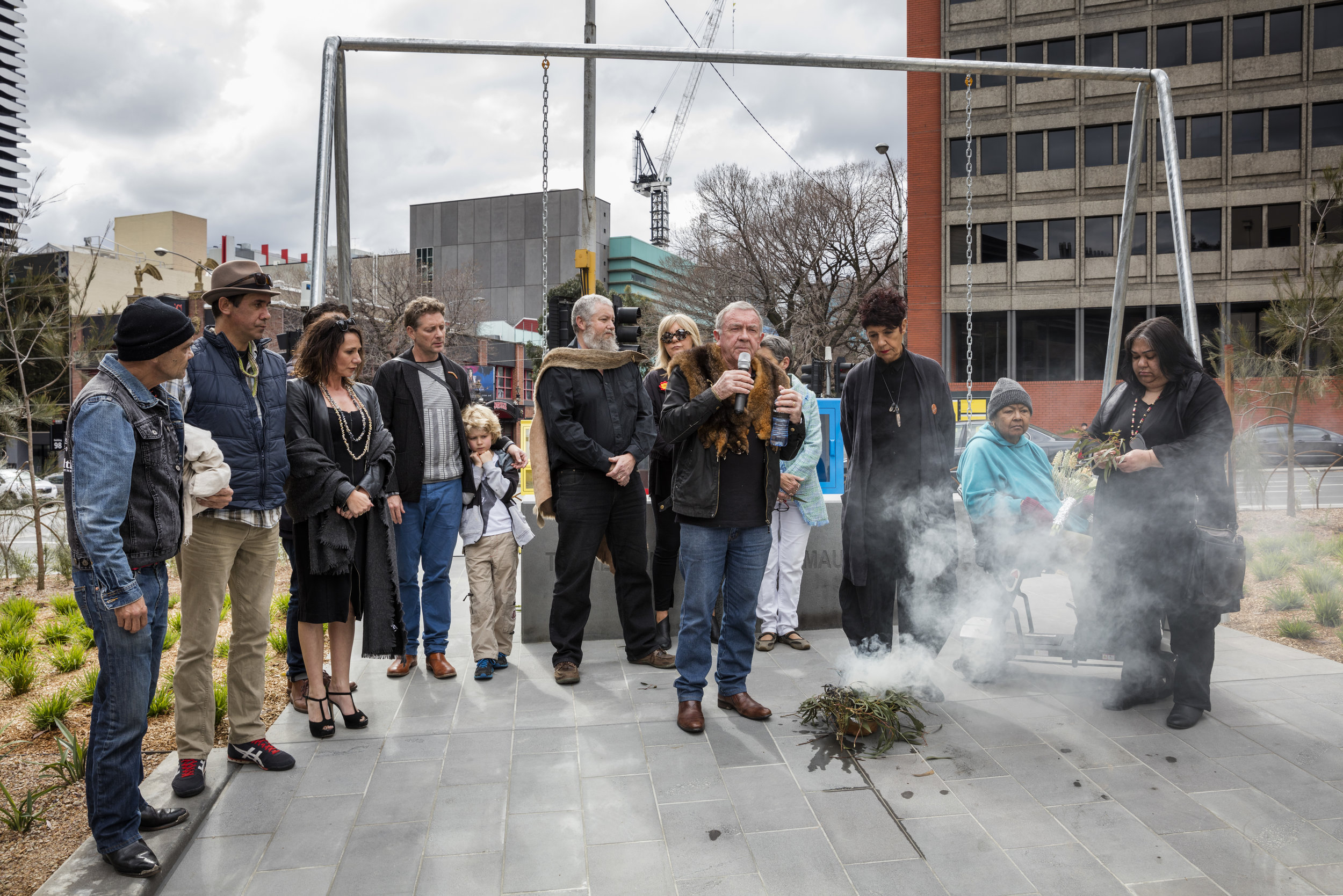 Launch of  Standing by Tunnerminnerwait and Maulboyheenner,  by Brook Andrew and Trent Walter, commissioned by City of Melbourne, 2016. Photograph by Dianna Snape.