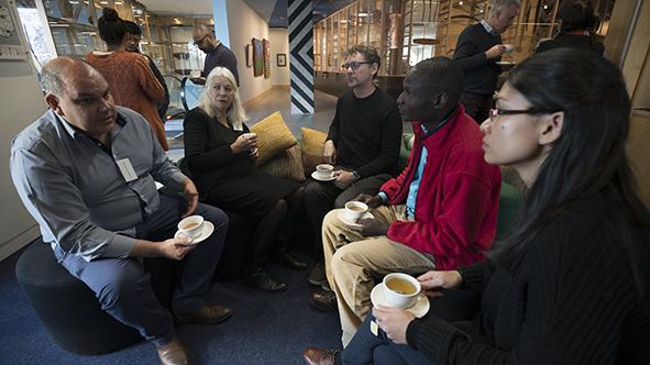 Lyndon Ormond-Parker, Marcia Langton, Brook Andrew, Nelson Abiti and Savina Sirik at the Koorie Heritage Trust. Photo: Polly Stanton.
