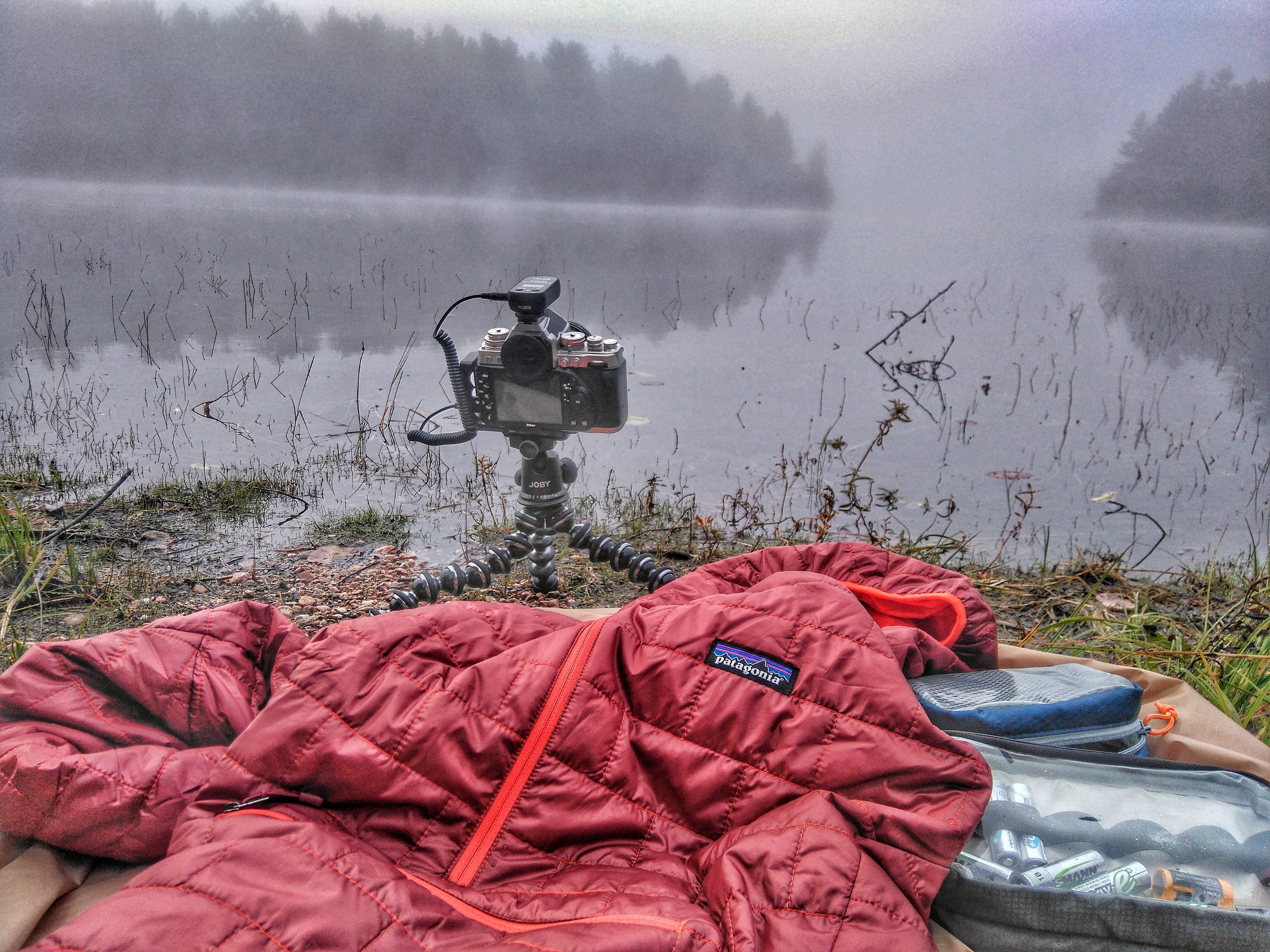 Behind the scenes with my  Patagonia Nano-Puff Bivy Pullover  on a foggy Algonquin morning.  Shot on a Sony Xperia M4 Aqua Smartphone, processed with Snapseed.