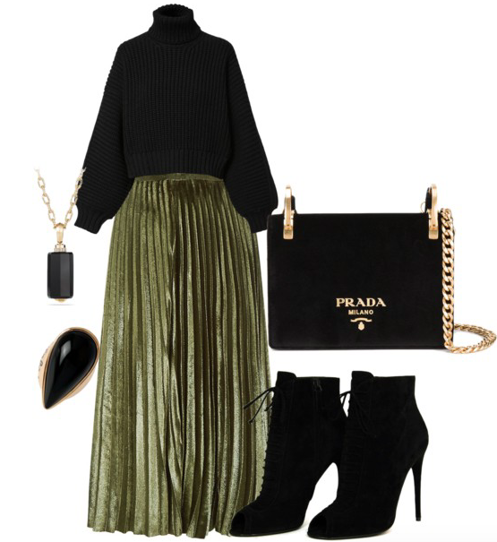 Cropped sweater--  Diesel , similar | Metallic skirt--  Harrods ,  similar | Cocktail Ring --  DFV ,  similar | Necklace--  David Yurman ,  similar | Purse--  similar | Shoes-- similar ,  similar