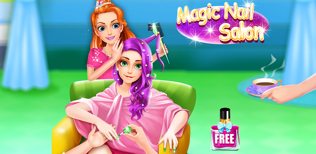 Magic Beauty Candy Nails Salon  You are the owner of a magical candy nail shop.It's a bright new day, you have several clients over to enjoy your service.