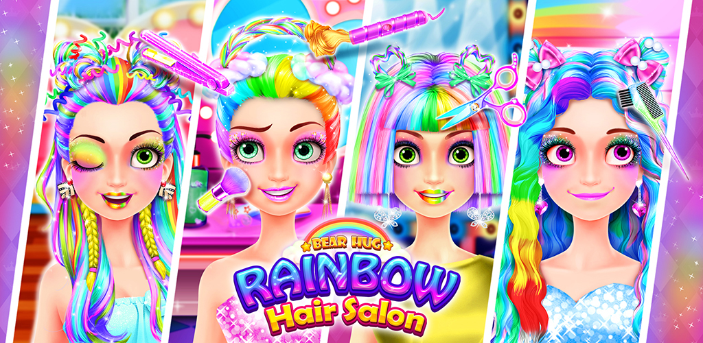 Rainbow Hair Salon! Girl Kids Dressup Makeup Games  Did you ever imagine of owning a Unicorn Hairstyle or a Rainbow Braid? Now you have the chance! The magic Rainbow Hair Salon will create the fantastic look for you!