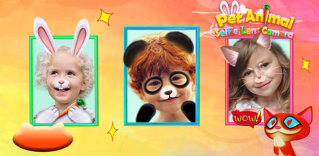 Rainbow Animal Selfie Camera  【You can be a cute animal 】+ Just download this app, your phone/tablet will turn into a magic mirror! + Choose the filter you like, you can be the animal in it.