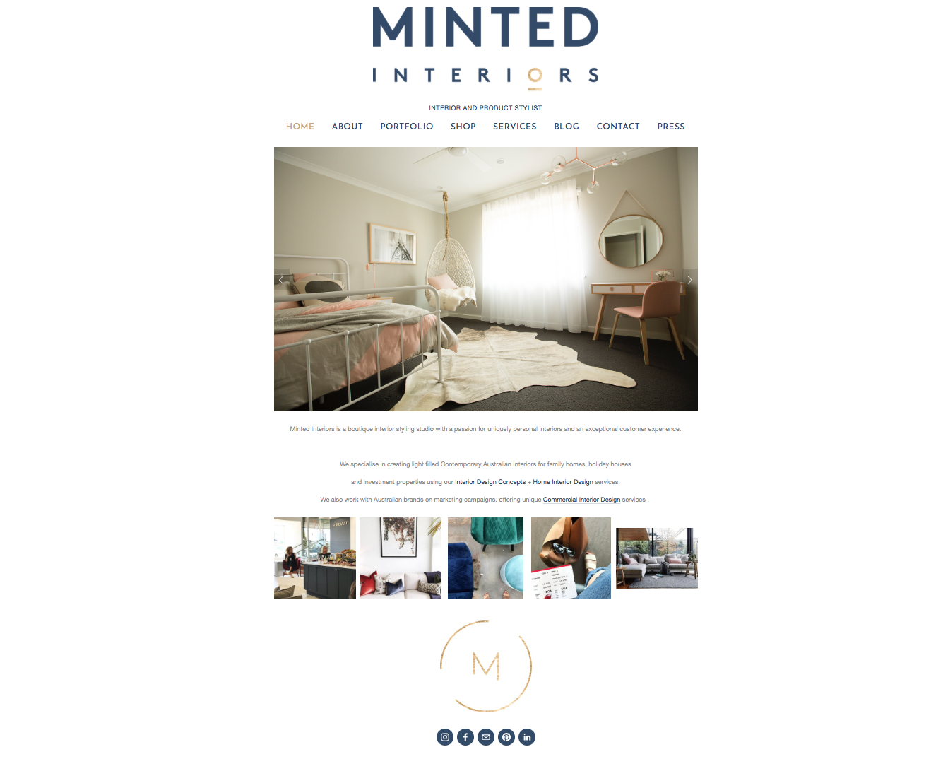 Minted Interior's brand refresh on the website
