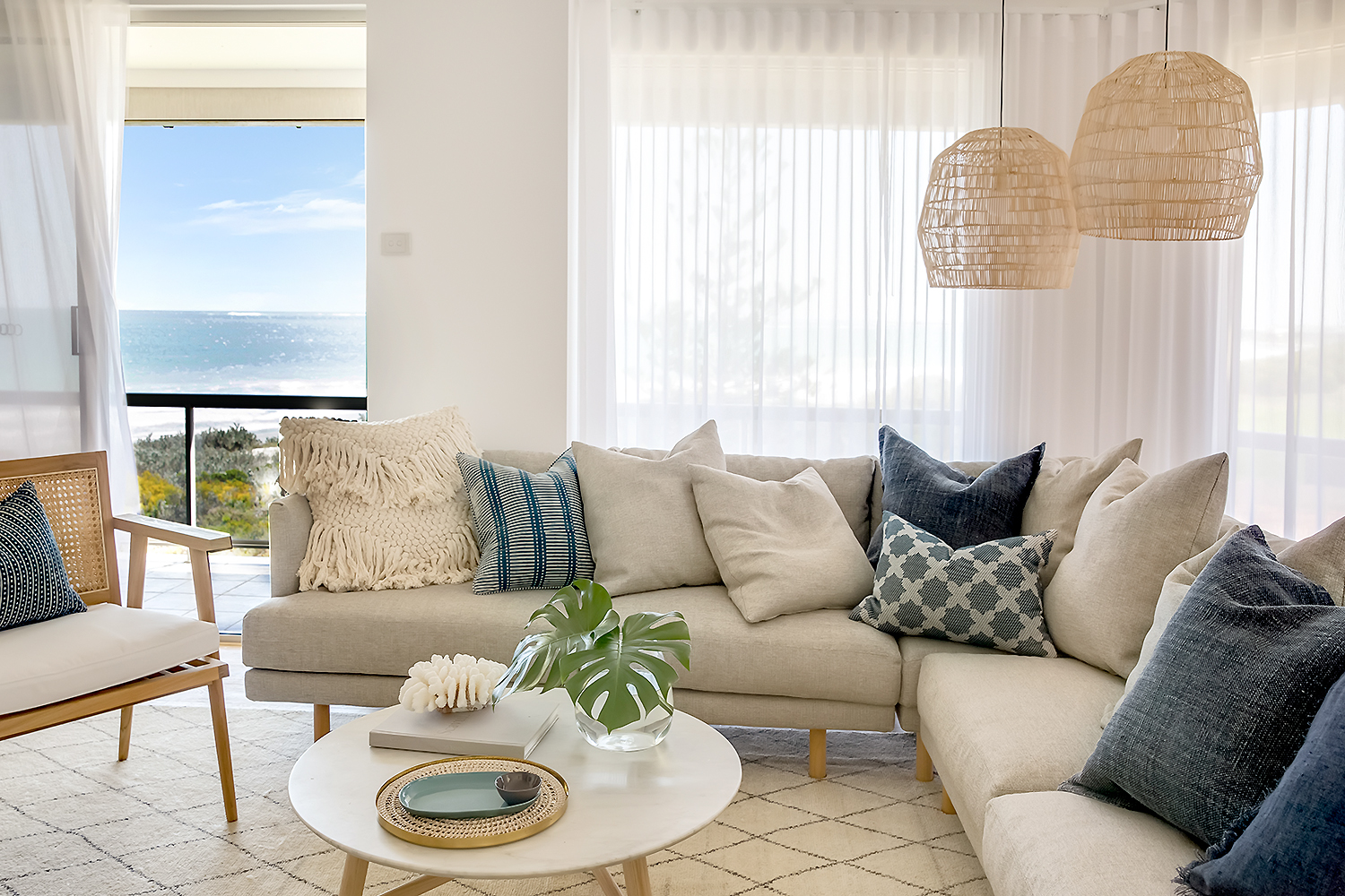 The view when seated at the office desk. With the plantation shutters open, you are able to take in the panoramic ocean views while working in the office.