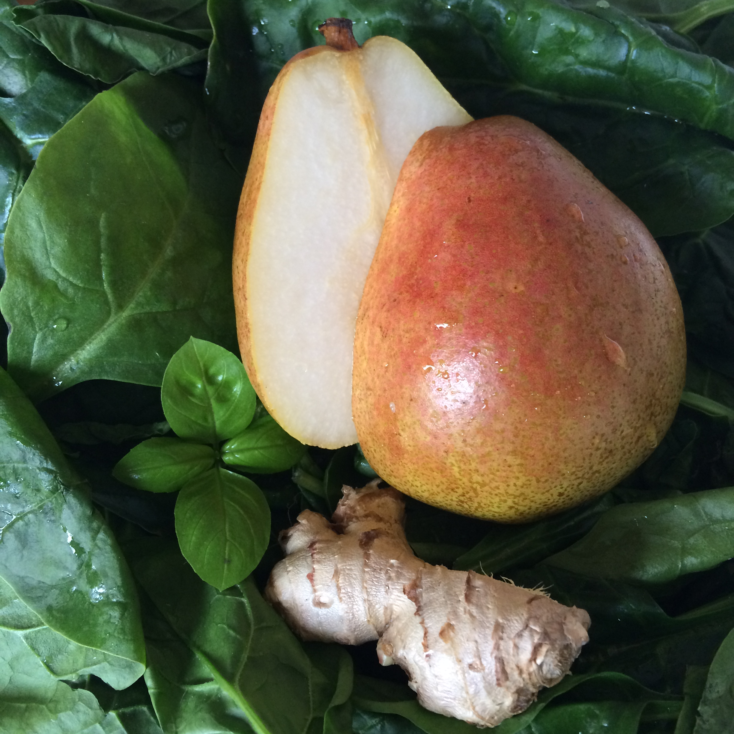 Pear Ginger Basil Spinach Green Smoothie Fresh Ingredients The Beauty of Simplicity by Salwa Petersen.jpg