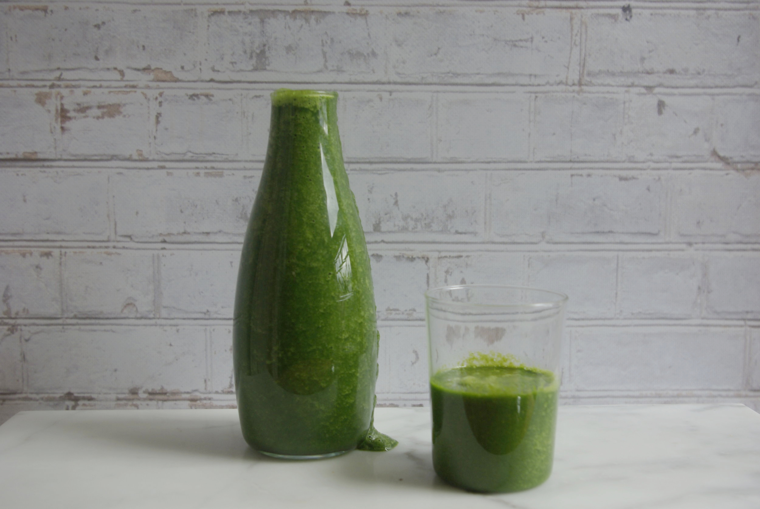 Bottle and Glass Green Gingery Smoothie The Beauty of Simplicity by Salwa Petersen.jpg